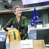 European Commission Vice-President in charge Europe fit for the digital age Margrethe Vestager arrives for her hearing at the European Parliament in Brussels on October 08, 2019. Der er flere opgaver på bordet, når Margrethe Vestager bliver ledende næstformand i EU-Kommissionen. Hun lover en EU-plan for kunstig intelligens på 100 dage. Det skriver Ritzau, tirsdag den 8. oktober 2019.. (Foto: ARIS OIKONOMOU/Ritzau Scanpix)