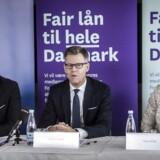 Fra venstre mod højre ses Nykredits koncernchef Michael Rasmussen, bestyrelsesformand Steffen Kragh og bestyrelsesmedlem Nina Smith. De har ventet i fem måneder på at få godkendt en bankdirektør i Finanstilsynet.