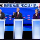 Fra venstre Senator Bernie Sanders, tidligere vicepræsident Joe Biden og senator Elizabeth Warren i TV-debatten natten til onsdag dansk tid. Der er stort set dødt løb mellem Warren og Biden. Sanders ligger i målingerne på en tredjeplads.