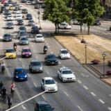 Trafikken ved H.C Andersens Boulevard i Købehavn er ét af de steder i landet, hvor det går langsomst i myldretiden.