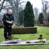Arkivfoto. I slutningen af februar 2017 blev otte gravsten væltet og ødelagt på Vestre Kirkegårds muslimske afdeling. Københavns Kommune sagde, at der var tale om en forbrydelse. Her ses en betjent ved en af de væltede gravsten.