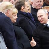 Nord Stream 2 har været en storpolitisk varm kartoffel, hvor Putin, Merkel, Trump og Macron har spillet hver sin rolle. Arkivfoto: Ludovic Marin/AFP/Ritzau Scanpix