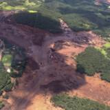 En kollapset dæmning i den brasilianske delstat Minas Gerais slap i januar flere millioner kubikmeter slam løs ned over et nærliggende dalområde. 270 blev dræbt eller aldrig set igen efter katastrofen. Tirsdag har brasilianske myndigheder oplyst, at selskabet bag dæmningen skjulte faresignaler fra myndighederne. (Arkivfoto) Ho/Ritzau Scanpix