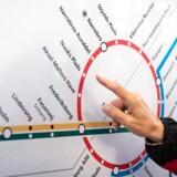 Oversigtskort over metroen i København og på Frederiksberg. Den røde rute er Cityringen, der åbnede 29. september.