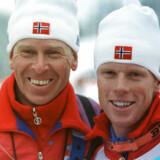 Landstræner Inge Bråten og Bjørn Dæhlie fejrer guldmedaljen i OL 1992.