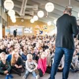 Rasmus Prehn, minister for udviklingssamarbejde, til lanceringen af Børnenes U-landskalender på Vindinge Skole i Roskilde for tre uger siden.