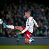 Martin Braithwaite scorer til 1-0 i EM-kvalifikationskampen på Aviva Stadium i Dublin som afslutning på kampens eneste helstøbte danske angreb.