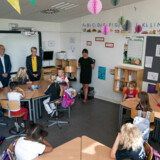 Børne- og undervisningsminister Pernille Rosenkrantz-Theil (S) besøger Katrinedals Skole i København, onsdag den 14. august 2019. Det er hendes første besøg på en folkeskole i sin tid som minister.