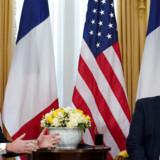 Frankrigs præsident, Emmanuel Macron, på pressemøde med USAs præsident, Donald Trump.
