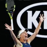 Arkivfoto: Danmarks største tennisstjerne, Caroline Wozniacki, trækker stikket til den aktive karriere, når Australian Open er slut. i 2018 vandt hun selvsamme turnering.