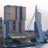 Rotterdam er ikke en by, hvor højden på huse afskrækker. Her er en af de nyere tilføjelser – et kombineret kontor-, lejligheds- og hotelbyggeri med konferencecenter og forretninger – tegnet af Rem Koolhaas. I forgrunden ses byens ikoniske vartegn, Erasmus-broen, næsten forsvinde i bygningsmassen.