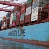 Her ses et Mærsk-skib ved havnen i Santos, Brasilien, i 2019. Nu er selskabet atter i søgelyset i en omfattende sag om korruption i landet.