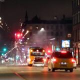 Uroligheder med fyrværkeri på Nørrebro natten til fredag 27. december.