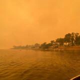 Byen Mallacoota i det sydøstlige Australien var omgivet af røg og brande nytårsaften. George Mills/Reuters