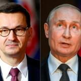 Polens premierminister, Mateusz Morawiecki (tv.), har kaldt Ruslands præsident Putin for en historisk løgner på grund af hans anklager om Polens rolle i Anden Verdenskrig.