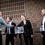 De Radikales Morten Østergaard (tv.), statsminister Mette Frederiksen (S) og V-formand Jakob Ellemann-Jensen (th.) tørnede søndag sammen til nytårsstævnet på Hotel Nyborg Strand. Statsministeren kan ikke være utilfreds med forløbet.