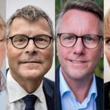 Jørn Rise (længst t.v.), der er forbundsformand for Dansk Told & Skat, og skattekonsulent i BDO, Henning Boye Hansen (t.v. for midten) kritiserer begge den høje rente på 8,05 pct., som Gældsstyrelsen tilskriver gæld til det offentlige. Skatteminister Morten Bødskov (t.h. for midten) og de Radikales skatteordfører Kathrine Olldag er ikke afvisende overfor tanken om at sænke rentesatsen.