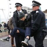 En aktivist fra Extinction Rebellion bliver arresteret af politiet under en demonstration i det centrale London i oktober.