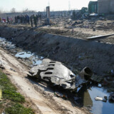 Vraget af det ukrainske fly PS752 fra Ukraine International Airlines, som blev skudt ned i Iran efter at være lettet fra Imam Khomeini-lufthavnen ved Teheran den 8. januar. (Foto: WANA NEWS AGENCY/Ritzau Scanpix)