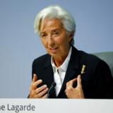 Christine Lagarde, chef for Den Europæiske Centralbank (ECB), på torsdagens pressemøde i Frankfurt, hvor en omfattende »gennemgang« af centralbankens pengepolitiske strategi blev annonceret.