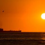 Et olietankskib passerer den berømte strand Copacabana i Rio de Janeiro. Brasiliansk politi mener, at Mærsk har indgået en række kontrakter om tankskibe, hvor der har været bestikkelse involveret. Arkivfoto: Christophe Simon/AFP/Ritzau Scanpix