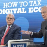 Den franske økonomi- og finansminister, Bruno Le Maire (th.), har kæmpet hårdt for at få en digital beskatning på plads. Nu har møder hos OECDs generalsekretær, Angel Gurria (tv.), bragt enighed om de store linjer.
