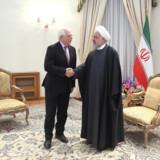 Irans præsident, Hassan Rouhani (t.h.), mødtes mandag med EU's udenrigschef, Josep Borrell, der er på besøg i Teheran mandag og tirsdag. De to talte blandt andet om atomaftalen, som er truet af kollaps, efter at USA trak sig fra aftalen. Official President Website/Reuters