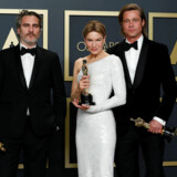 Best Actor winner Joaquin Phoenix, Best Actress Renee Zellweger and Best Supporting Actor Brad Pitt pose with their Oscars in the photo room during the 92nd Academy Awards in Hollywood, Los Angeles, California, U.S., February 9, 2020. REUTERS/Lucas Jackson TPX IMAGES OF THE DAY