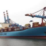 Et Mærsk-containeskib i den nordtyske havneby Hamborg. For første gange siden 1970erne er Tyskland ikke længere det største afsætningsmarked foir danske virksomheder