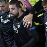 Michael Santos er sigtet for at overfalde en politimand under en fejring af FCKs afgørende mål mod Celtic.