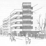 På den originale perspektivtegning til C.F. Møller og Kay Fiskers Vodroffsvejhus er der både cykler, lastbiler og hundeluftere, præcis som i de kritiserede visualiseringer. Men fordi det er en tegning, er man ikke i tvivl om, at det er en abstraktion. Man skal selv tænke med.
