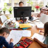 Familien Trolle Bodin i Herlev forsøger at sætte deres hverdag i system, efter at de nu skal arbejde hjemmefra, samtidig med at børnene skal blive hjemme fra skole og børnehave. Her Julie Trolle Boding og børnene Jacob og Dagmar.