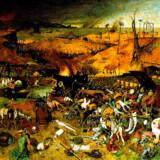 Mange forestillinger om helvede ligner dette maleri fra 1562 af den nederlandske maler Pieter Bruegel. Skønt sceneriet udspiller sig på Jorden, kan det ses som et varsel om, hvad der venter den, der kommer i Helvede efter døden. Skeletter som veritable dødspatruljer bevæger sig rundt i landskabet og slår ihjel under en dyster himmel. Her lades alt håb ude.