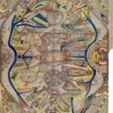 Et værk af Adolf Wölfli fra 1911 – fem år efter hans første raptus med kunst. Bemærk korsene, de mange forskellige ansigter og noderne på et hjemmelavet system.