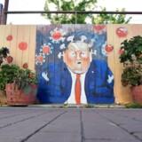 »Trump har set, at hans metode og strategi virker og ser sig selv som en vinder. Uovervindelig som Terminator. Alt er gået efter hans opskrift, indtil han stødte ind i corona, som alt preller af på,« skriver Samuel Rachlin. Her er coronapræsidenten blevet malet på et stakit i San Francisco.