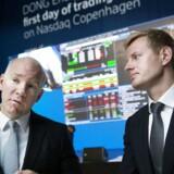 DONG's børsnotering torsdag d. 9 juni 2016 i selskabets hovedkvarter i Gentofte. Børsintroduktion DONG. Goldmann Sachs Martin Hintze(tv) og Michael Bruun. (Foto: Liselotte Sabroe/Scanpix 2016)