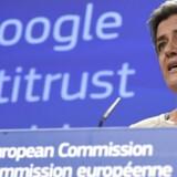 I juli ventes EUs konkurrencekommissær Margrethe Vestager at være klar med endnu en formel sag mod Google. Arkivfoto: John Thys, AFP/Scanpix