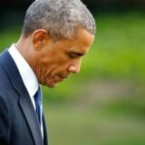 Barack Obama i haven ved Det Hvide Hus.