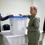 Præsident Masoud Barzani under mandagens folkeafstemning.