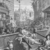 Så vildt går det for sig i »Gin Lane« i William Hogarths fremstilling fra 1751. Pressefoto