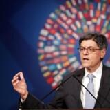 Budgetunderskuddet landede på 587 milliarder dollar. Det oplyser USA's finansminister, Jacob Lew, fredag i Washington.