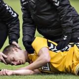 Frederik Møller måtte en tur på skadestuen efter Horsens'' kamp mod Brøndby. Scanpix/Henning Bagger