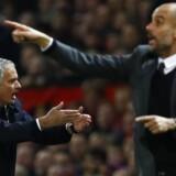 José Mourinho og Pep Guardiola under onsdagens kamp.