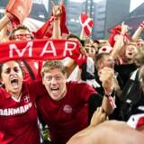 Tv2 præsenterede VM-kampen mellem Danmark-Peru på storskærm i Telia Parken. København, lørdag den 16. juni 2018.
