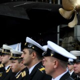 Havet ud for Grønland har stor interesse for Rusland. Den russiske flåde har de senere år oprustet markant og har bygget en række nye ubåde – her søsættes en ubåd fra et værft i Sankt Petersborg.