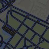 Her ses en del af Københavns gader, der er omdannet til Pacman-spil