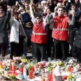 Place de La Bourse i Bruxelles, få dage efter terrorangrebet.