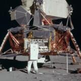 Ørnen er landet! Apollo 11-landingsmodulet »The Eagle« står 20. juli 1969 på Månen. Første mand på månen blev Neil Armstrong. Foto: NASA