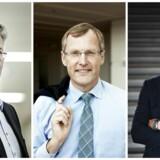 Fra venstre: Allan Pollack (topchef, PFA), Steen Michael Erichsen (adm. direktør, Nordea Liv og Pension) og Hasse Jørgensen (adm. direktør, Sampension).