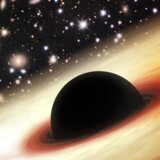 En kunstners fortolkning af et sort hul. Tyngdebølger kan bl.a. opstå ved kollision mellem sorte huller.